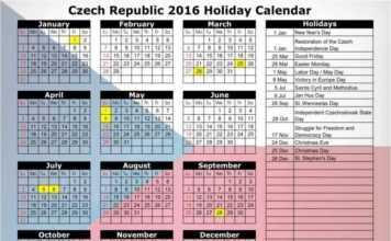 Calendario delle Festività in Repubblica Ceca