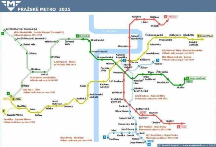 Praga: ecco come si evolverà la metro da oggi al 2100 linea D