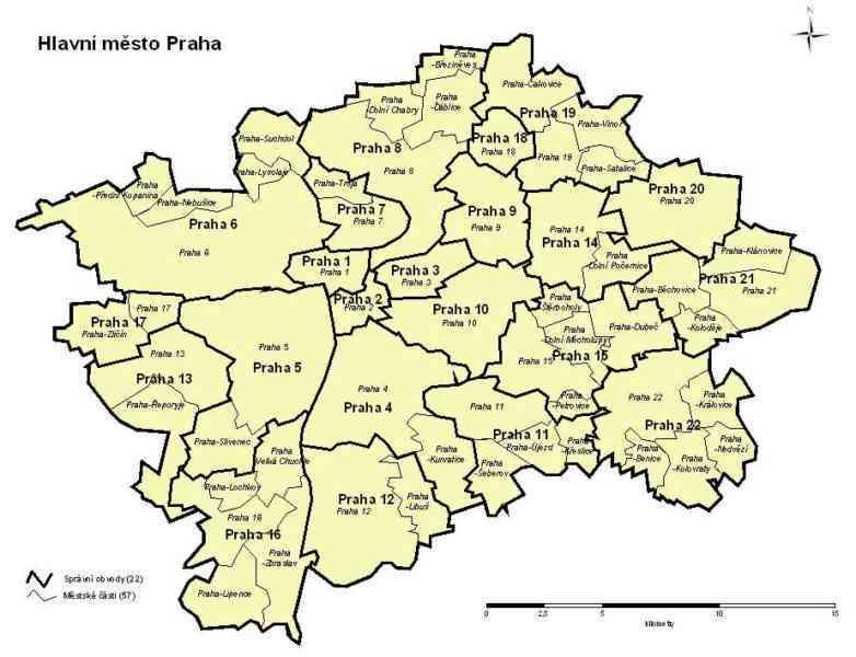 Mappa di Praga suddivisa in 22 zone