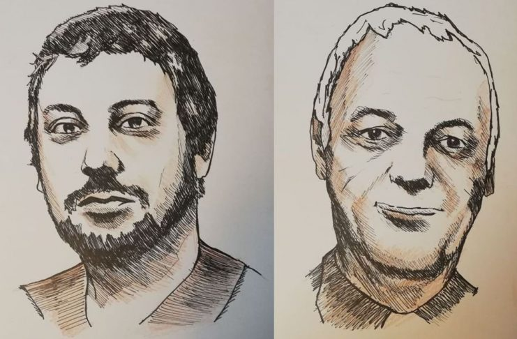 Andreas Pieralli e il prof. Luca Vannucci. Disegni di Tiziano Marasco