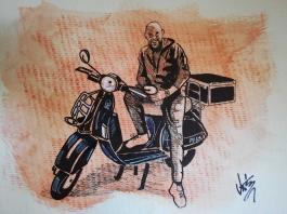 Massimo Canepa in un disegno di Tiziano Marasco